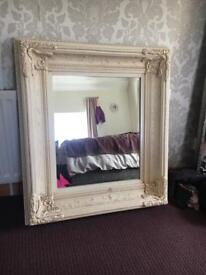 Decorative, ornate, large cream mirror