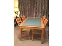 Perfect dining room table (frosted glass top) & 4 chairs, 130x90x76cm, extends to 2m