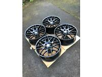 "4 x 19"" CSL Style BMW Alloy Wheels Gloss Black Staggered"