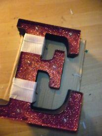 DESIGNER letter E light up RED GLITTER decoration METAL not plastic
