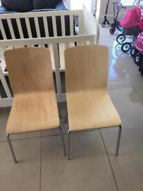 Two New Pine Effect Solid Wood Dining Chairs