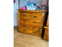 Solid wood wardrobe x2 & 3x chest of drawers