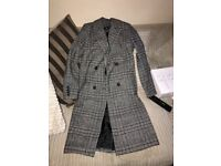 Wool check coat. Black, grey white check. Size 12