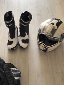 Matching helmet and boots and separate jacket