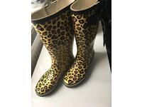 Wellingtons boots size 4 37. Leopard print. Festival Shoes