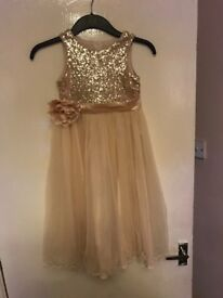 Girls gold bridesmaid dress age 7 and flower basket