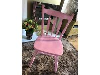 Solid pine chair pink