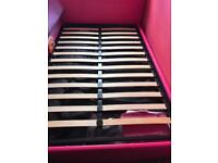 Hot pink faux leather bed/memory foam mattress