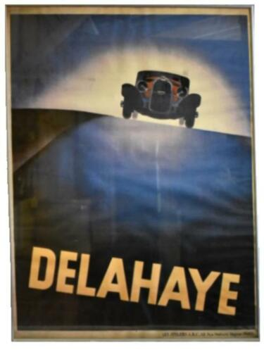 Vintage French 1930s Poster Delahaye Motor Racing