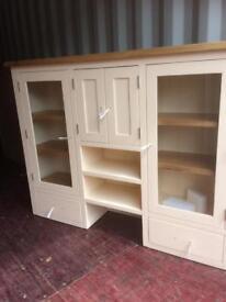 BRAND NEW Cornish cream LARGE dresser top with oak shelving - Slight paint defect