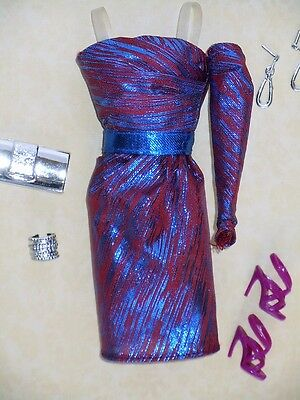 For sale Barbie SEX IN THE CITY 80s EVENING WEAR Metallic Off Shoulder Dress MODEL MUSE