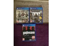 PS4 GAMES - 18 - FOR HONOR, WOLFENSTEIN, ASSASSINS CREED SYNDICATE