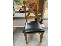 Dining chairs x 2 wooden with faux leather seats