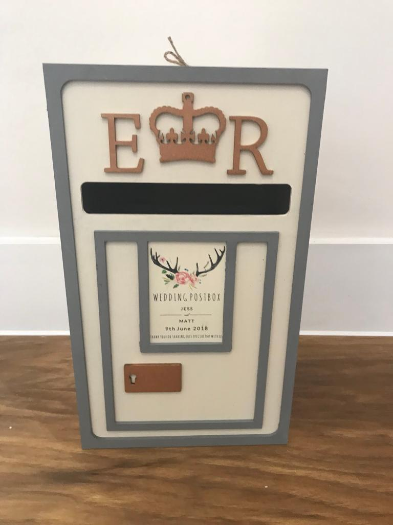 wedding letterbox card postbox white grey