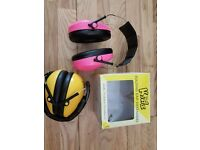 2 pairs Childrens Ear defenders with padded headband yellow and/or pink great at festivals air shows
