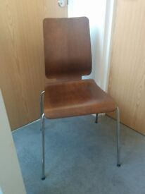 Four dining chairs. Dark wood (walnut colour) and chrome