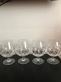 4 x Crystal Brandy Glasses