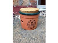 Terracotta Garlic Storage Pot with cork lid