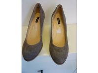 Ladies Jaeger grey suede effect wedge shoes