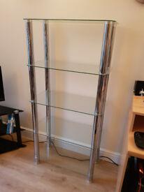 Glass and metal shelving.