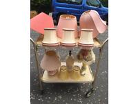 Job lot of 3 lamps and 8 lampsahdes