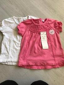 2 pack baby girl t-shirts 3-6 months