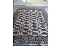 BOUKHARA CARPET/RUG 240 X 170 IN BEIGE WITH TAN/NAVY/GREEN PATTERN