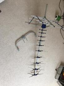 Tv aerial with bracket