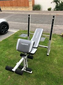 Maximuscle bench press (Flat or Incline) with leg extension and bicep curl accessorises.