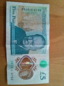 five pound note.miss print error.bargain.rare.collectable.