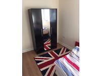 Sparkle 3 Door Mirrored Wardrobe - Black