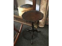 Fine Little Mahogany Scalloped Edge Pedestal Side / End Wine / Or Lamp Table