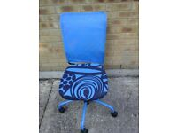 Funky blue patterned office chair