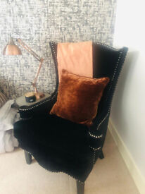 Beautiful High Back Black Suede Arm Chair with silver trim