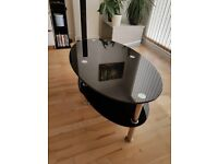 Black glass coffee table, glass table, tv table
