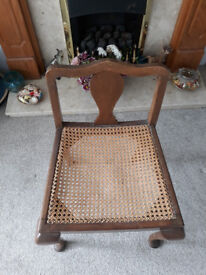 (Edwardian?) Low Backed Cane Nursing Chair