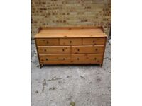 Beautiful solid pine chest of 7drawers with bedside cabinets to match