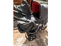 Double push chair with attachments