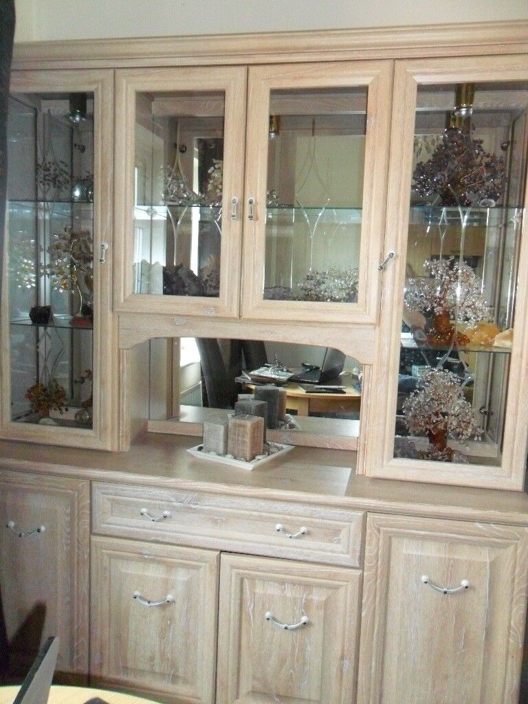 LIMED OAK DINING ROOM DISPLAY CABINET WITH INTERNAL LIGHTS