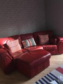 3 Seater red leather settee with foot stool