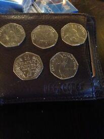 Beatrix potter coins x5