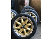 Classic mini wheels gold 13inch with tyres