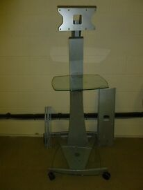 UNICOL mobile TV floor stand with 2 glass shelves - perfect for office presentations and exhibitions