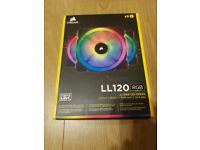 Corsair 120 mm Dual Light Loop RGB LED Fan (Pack of 3) Brand New + 2 free twin fan hard disk cooler