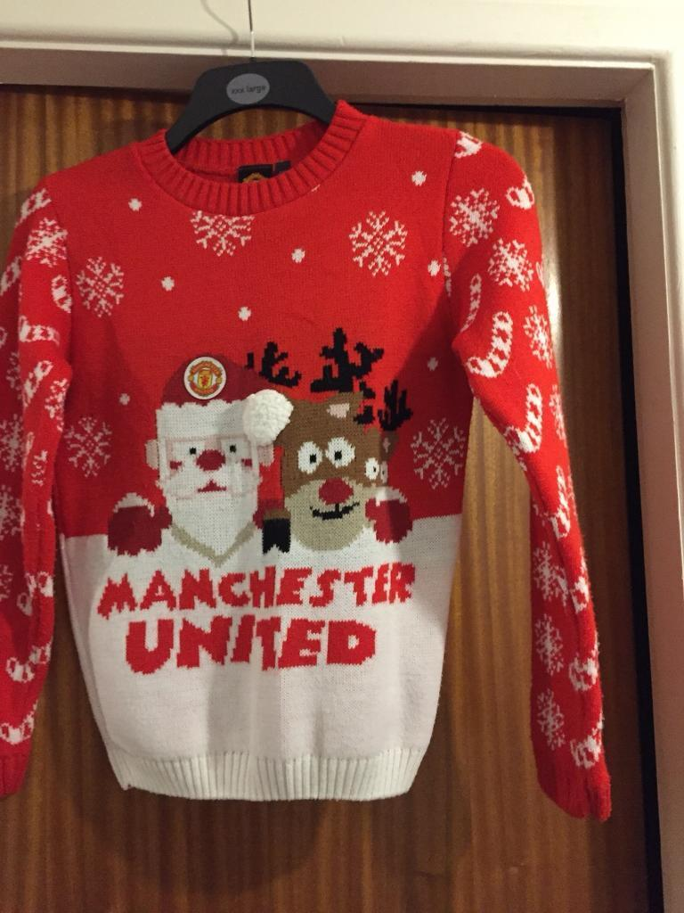 Boys Official Manchester United Christmas Jumper In Astley