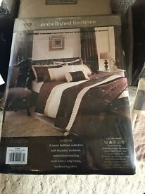 Dunelm Mill Brown and Cream Double Bedding, with additional pillow case