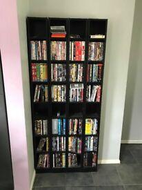 4 black dvd towers