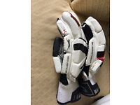 Cricket gloves, shin pads and helmet