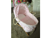 MOTHERCARE MOSES BASKET AND STAND 2 SETS DRAPES 8 WEEK OLD NOT A MARK ON IT ..