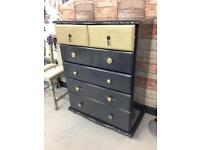 Black and gold painted chest of drawers